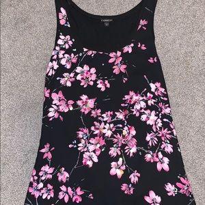 Black floral tank top